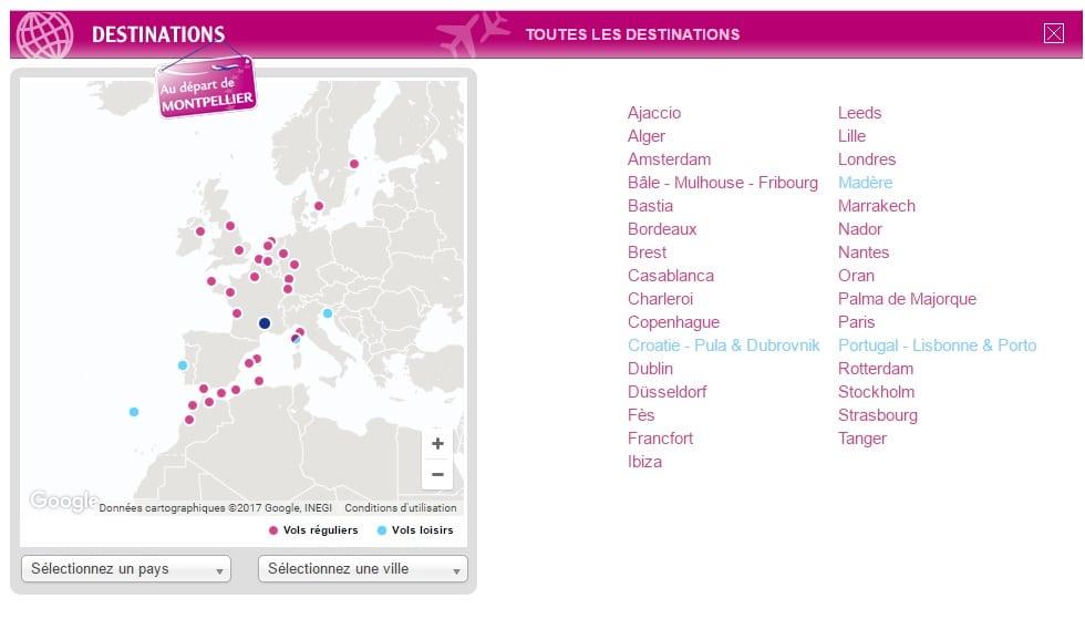 destinations aéroport Montpellier hebergement en famille